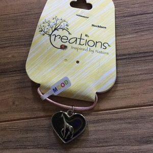 NWT Creations heart giraffe mood necklace